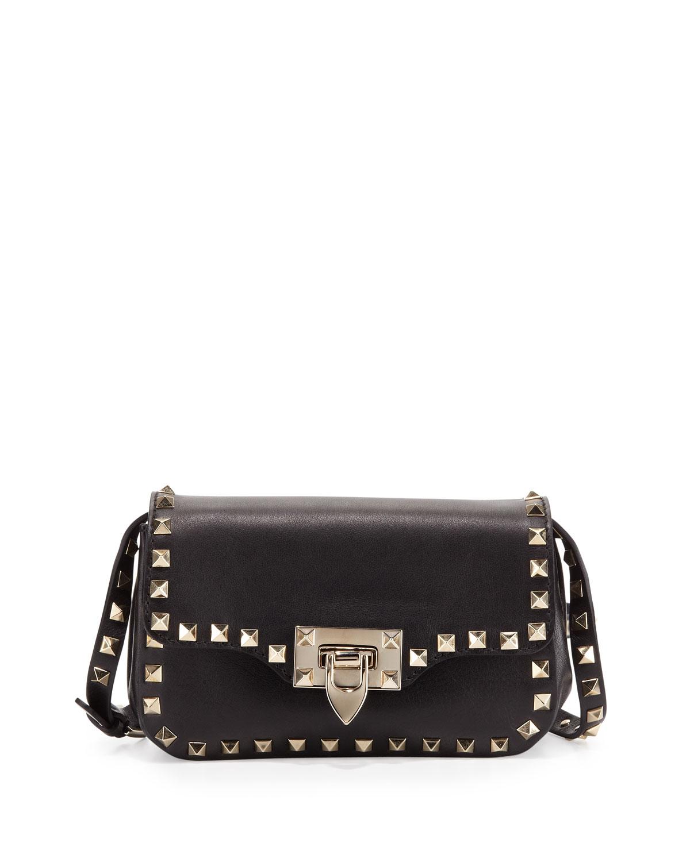 valentino rockstud mini crossbody bag in black lyst. Black Bedroom Furniture Sets. Home Design Ideas