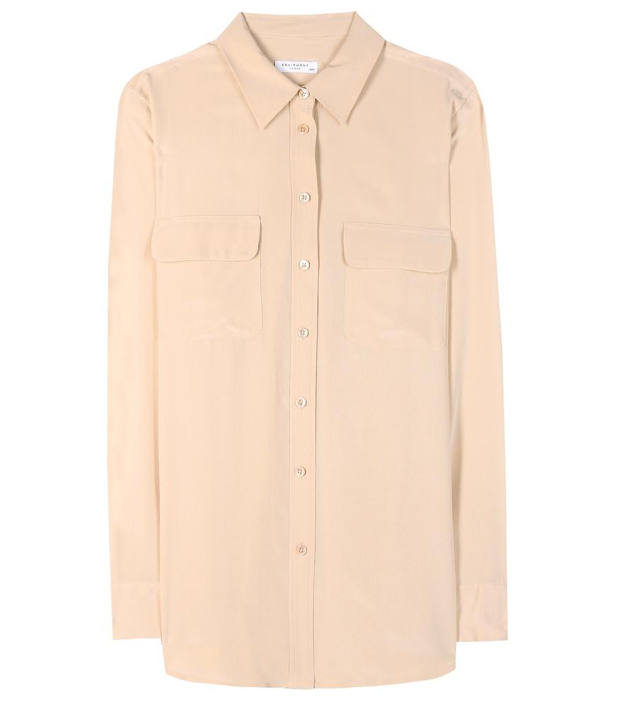 Equipment slim signature silk shirt in natural lyst for Equipment signature silk shirt