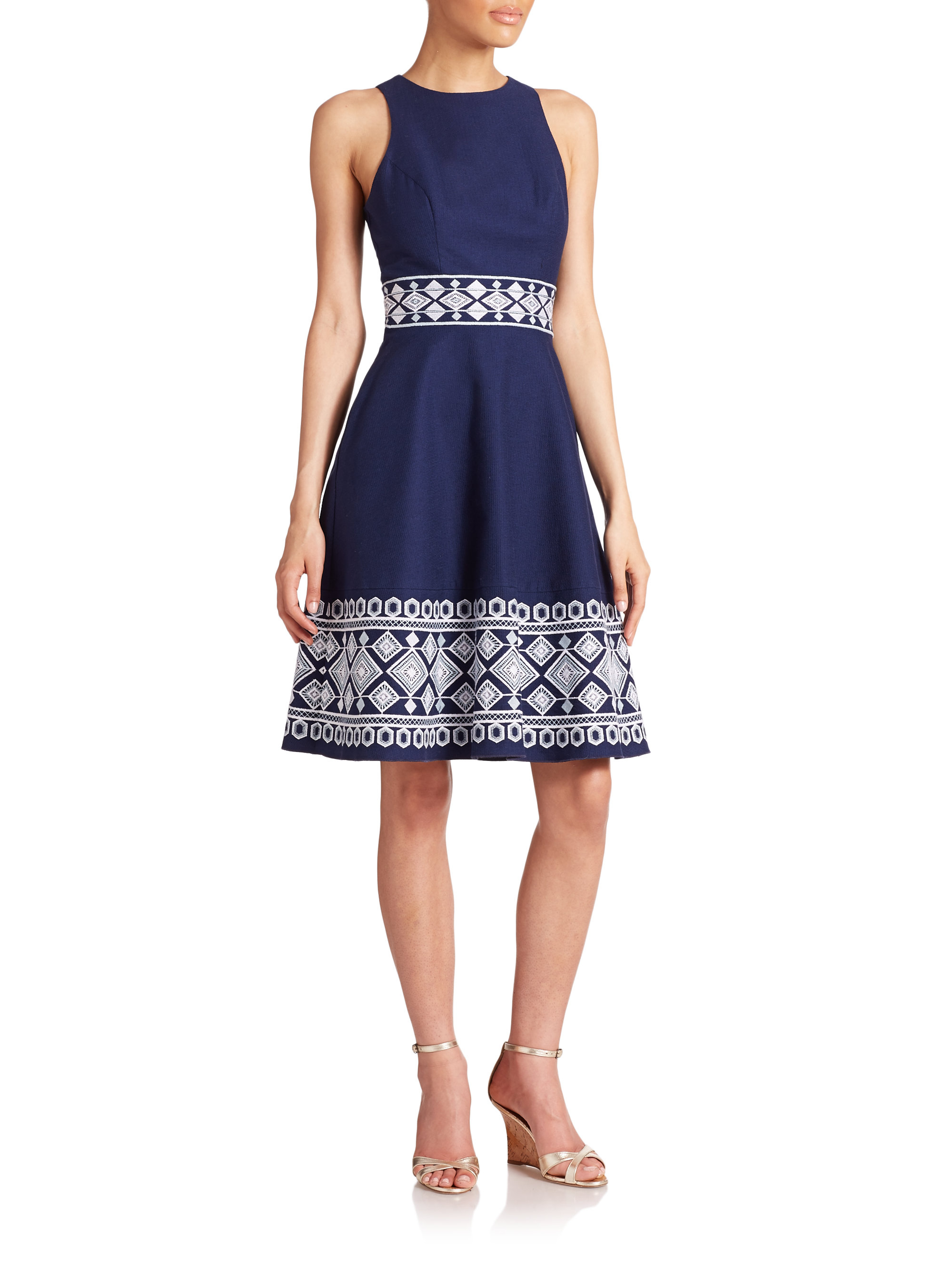 Shoshanna Clark Embroidered Dress In Blue Lyst