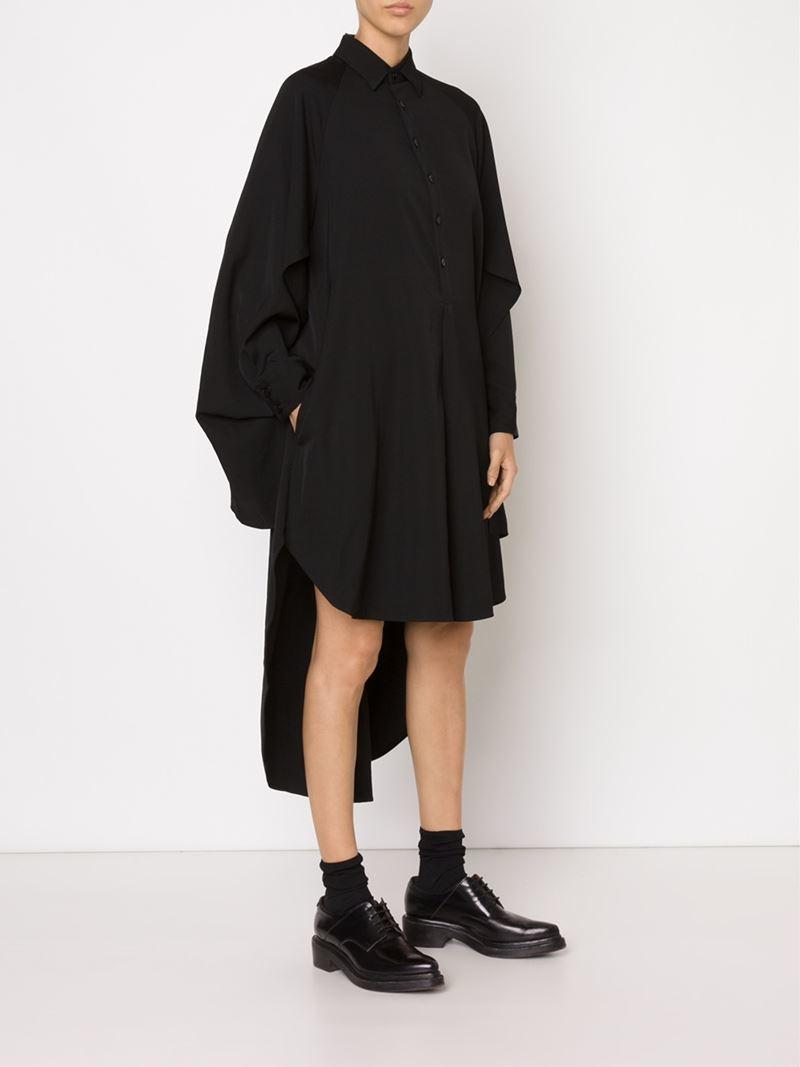 9edc5e100fef Yohji Yamamoto Asymmetric Shirt Dress in Black - Lyst