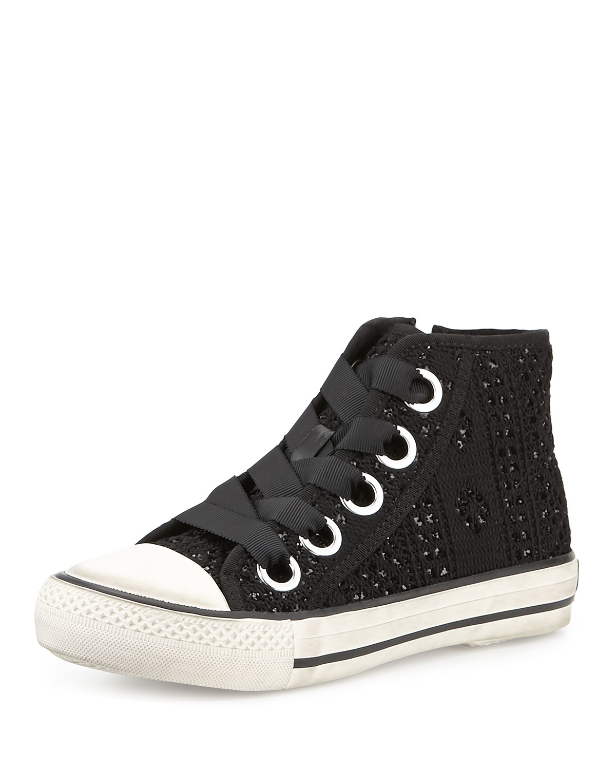 ash venus sequined high top sneaker in white black blac lyst. Black Bedroom Furniture Sets. Home Design Ideas