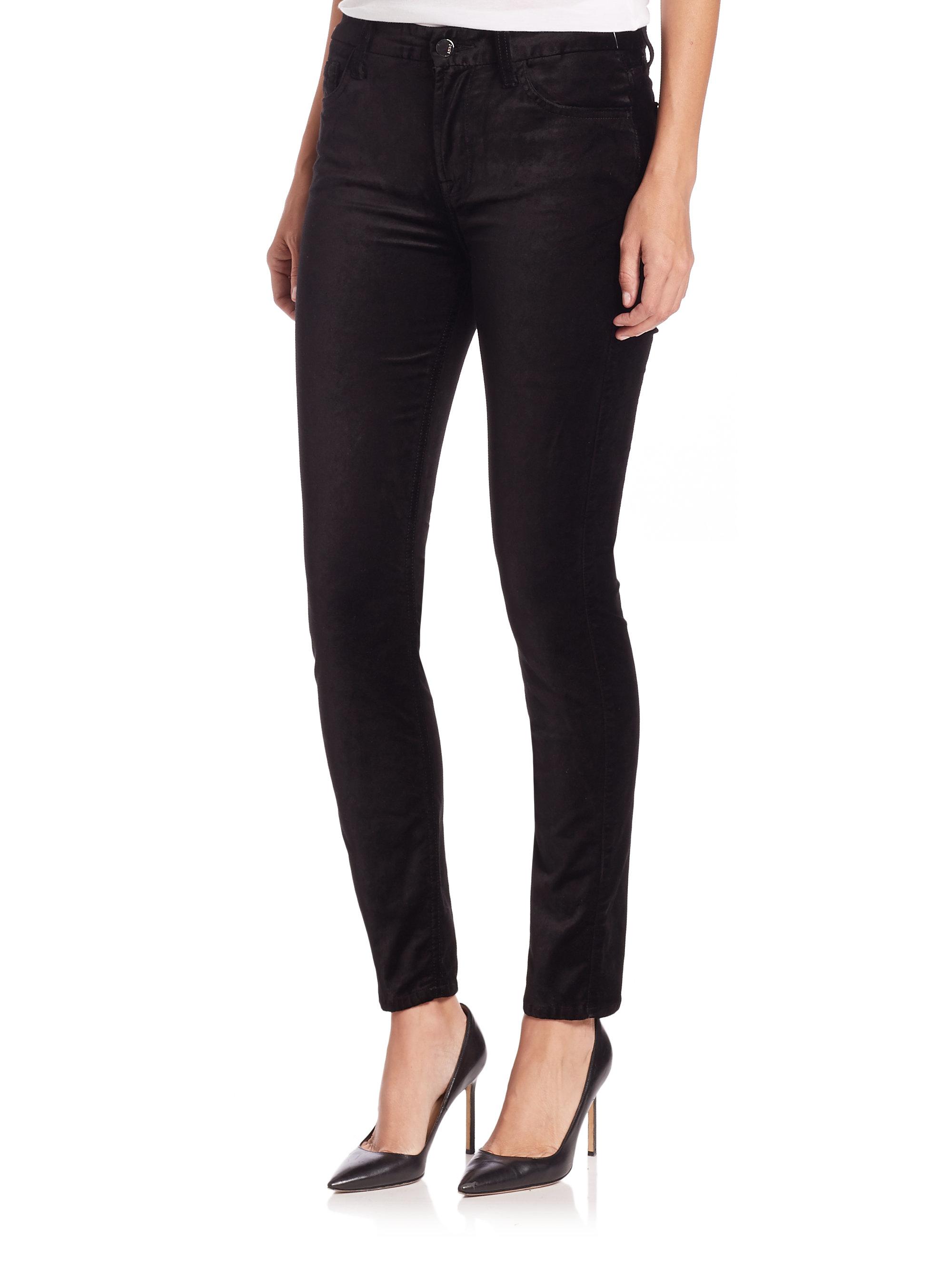 Jen7 Velvet Skinny Jeans In Black   Lyst