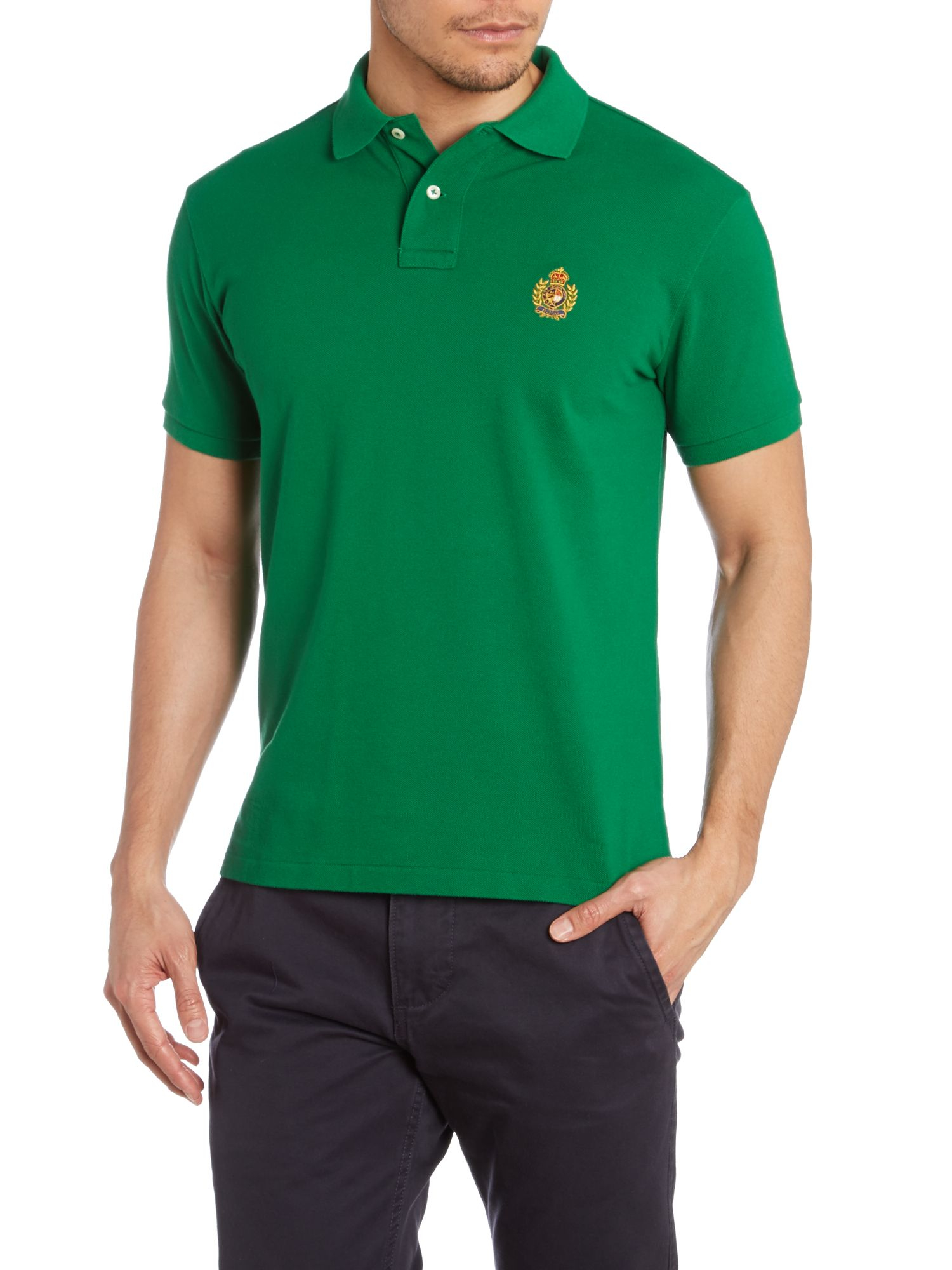 Polo ralph lauren custom fit crest pocket polo shirt in for Two pocket polo shirt