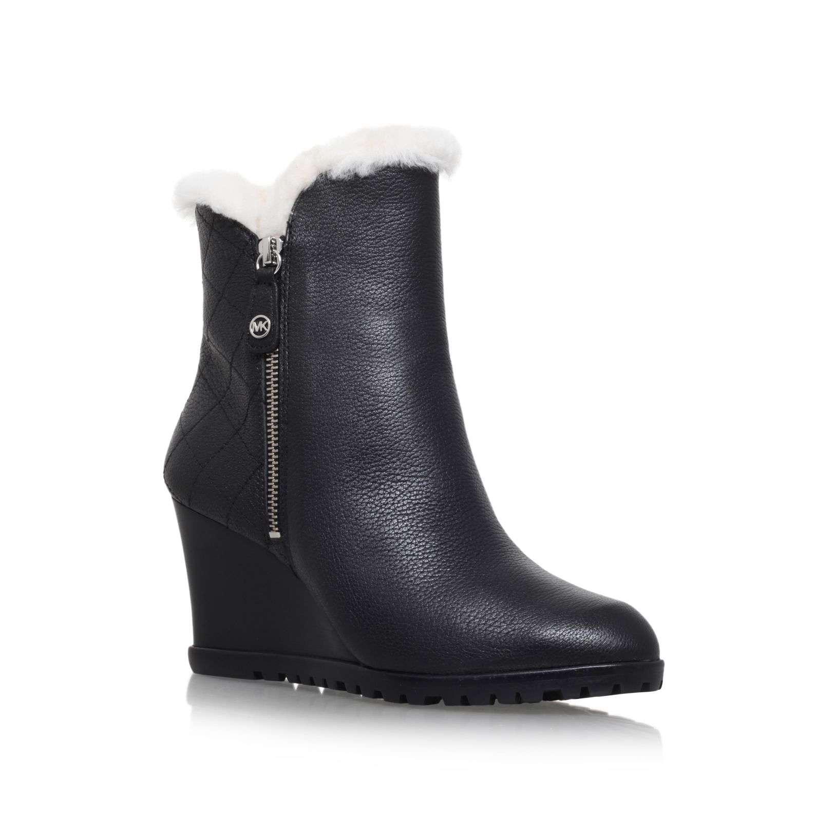Michael Kors Whitaker Wedge Fur Lined Ankle Boots in Black