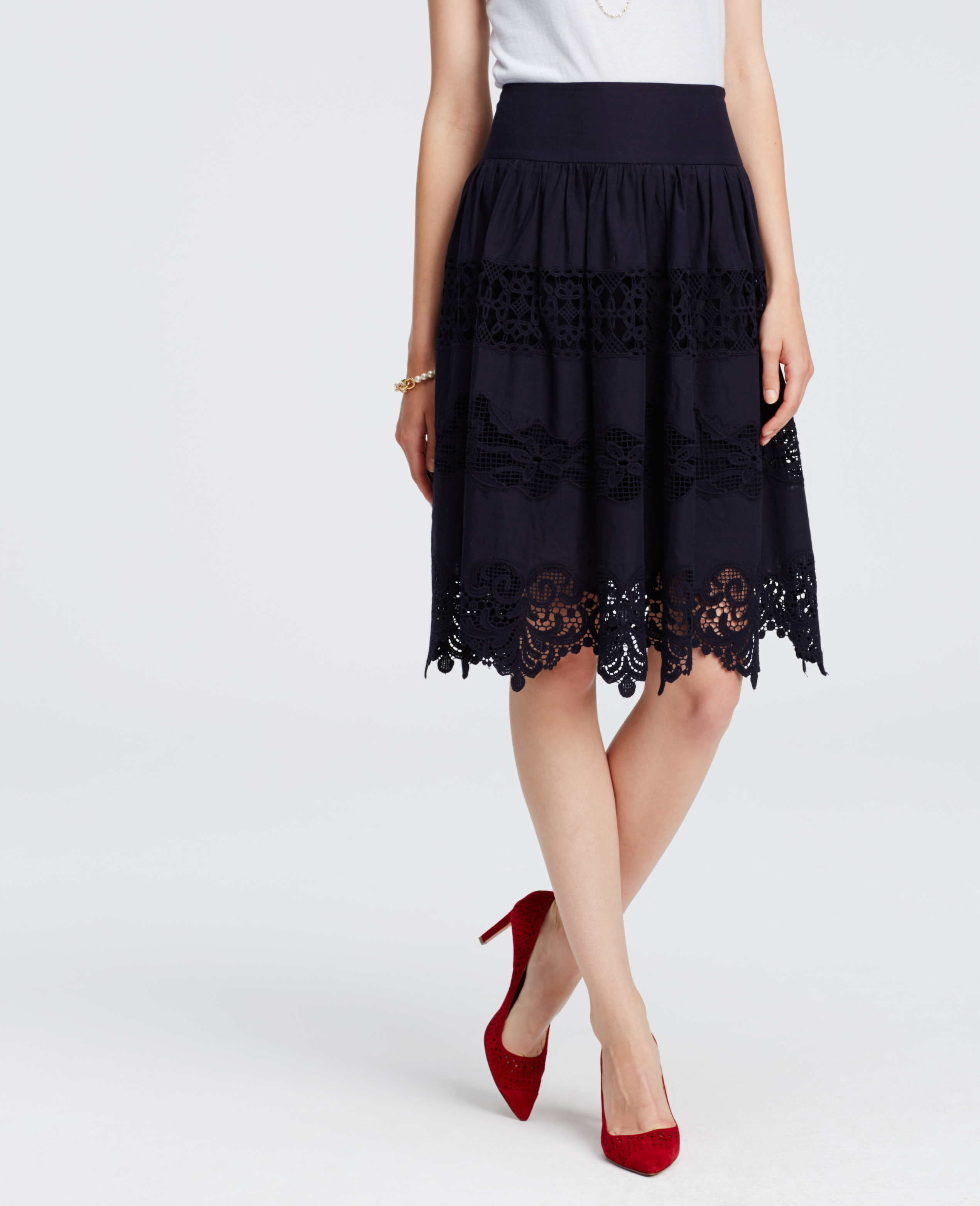 embroidered midi skirt in blue lyst