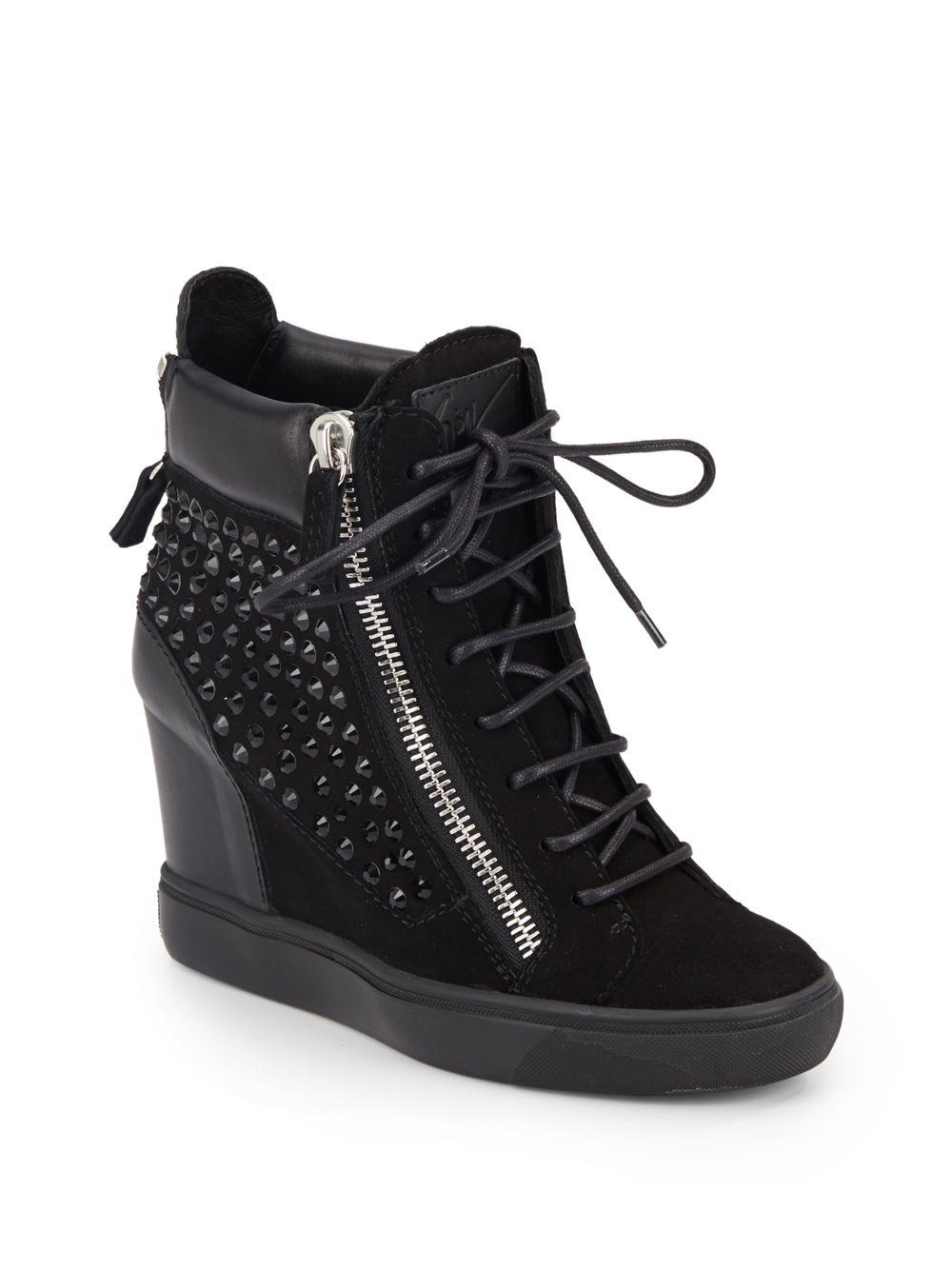 ba4a6507843 Lyst - Giuseppe Zanotti Crystal-studded Suede   Leather Wedge ...