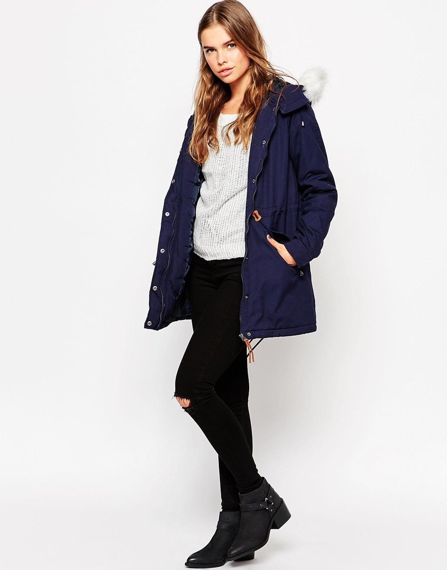 vero moda parka with faux fur hood in blue lyst. Black Bedroom Furniture Sets. Home Design Ideas