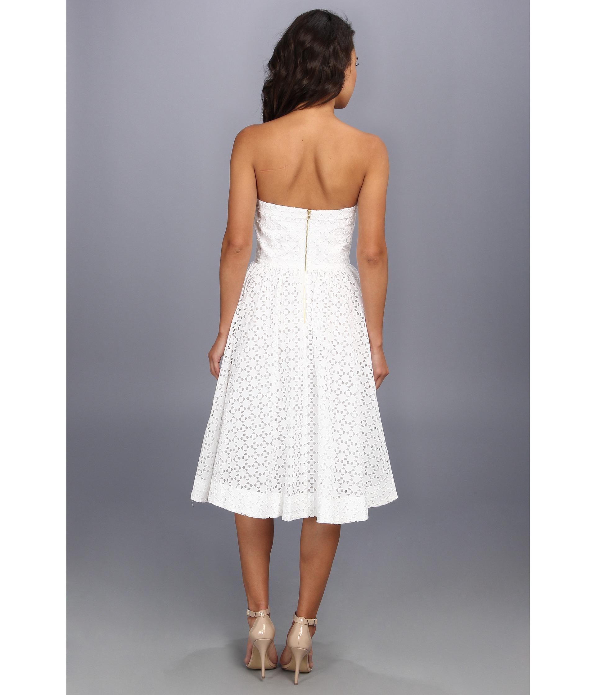 Donna Morgan Strapless Eyelet Tea Length Dress In White Lyst