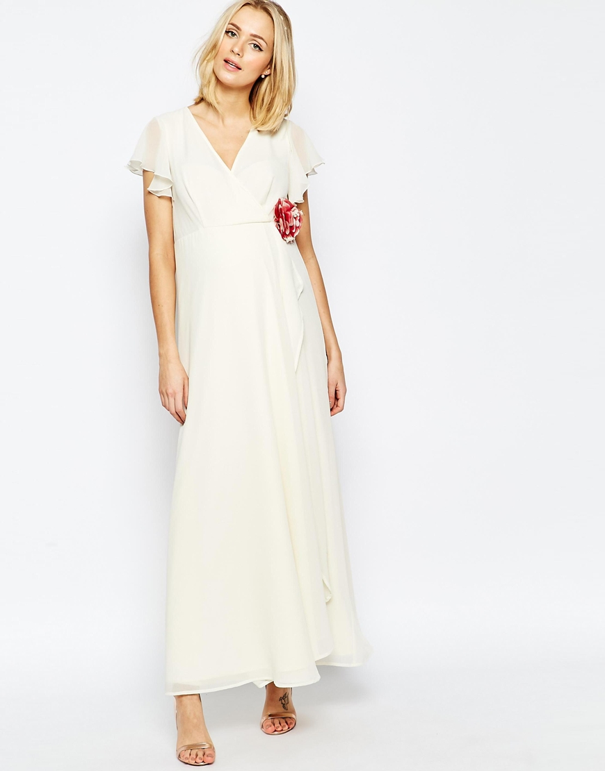 Asos Wedding Wrap Maxi Dress With Corsage Detail Cream In White Lyst