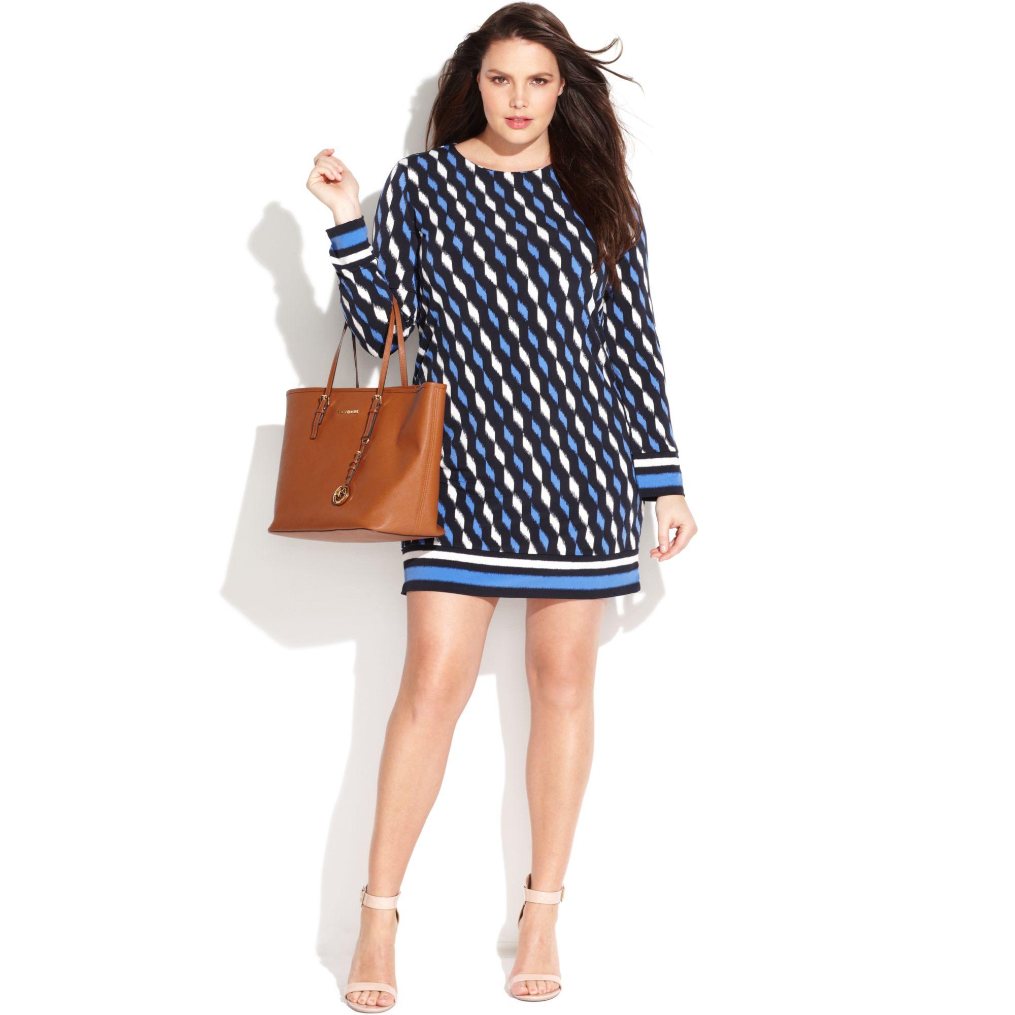 Michael Plus Size Longsleeve Printed Sheath Dress