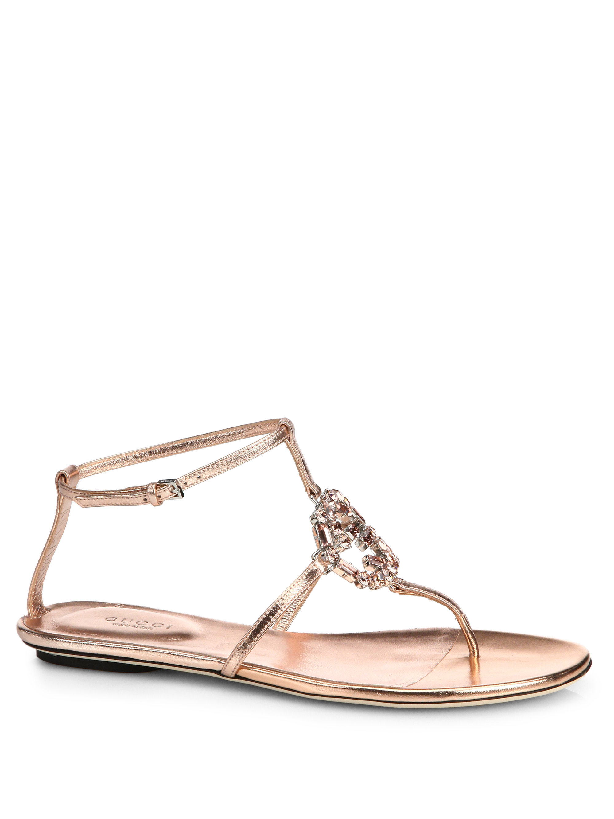 010b2ca97fec Lyst - Gucci Gg Sparkling Crystal   Leather Sandals in Pink