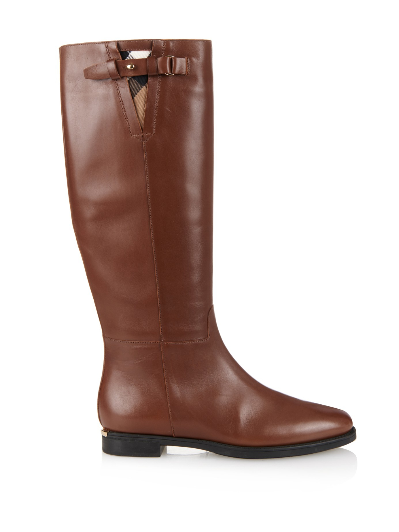 burberry house check trim leather boots in brown lyst