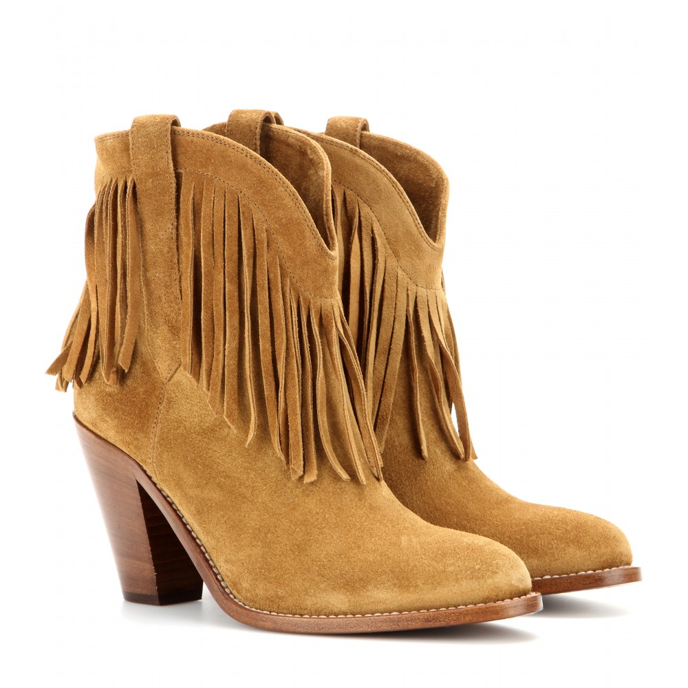 Saint laurent Fringed Suede Leather Ankle Boots in Brown | Lyst