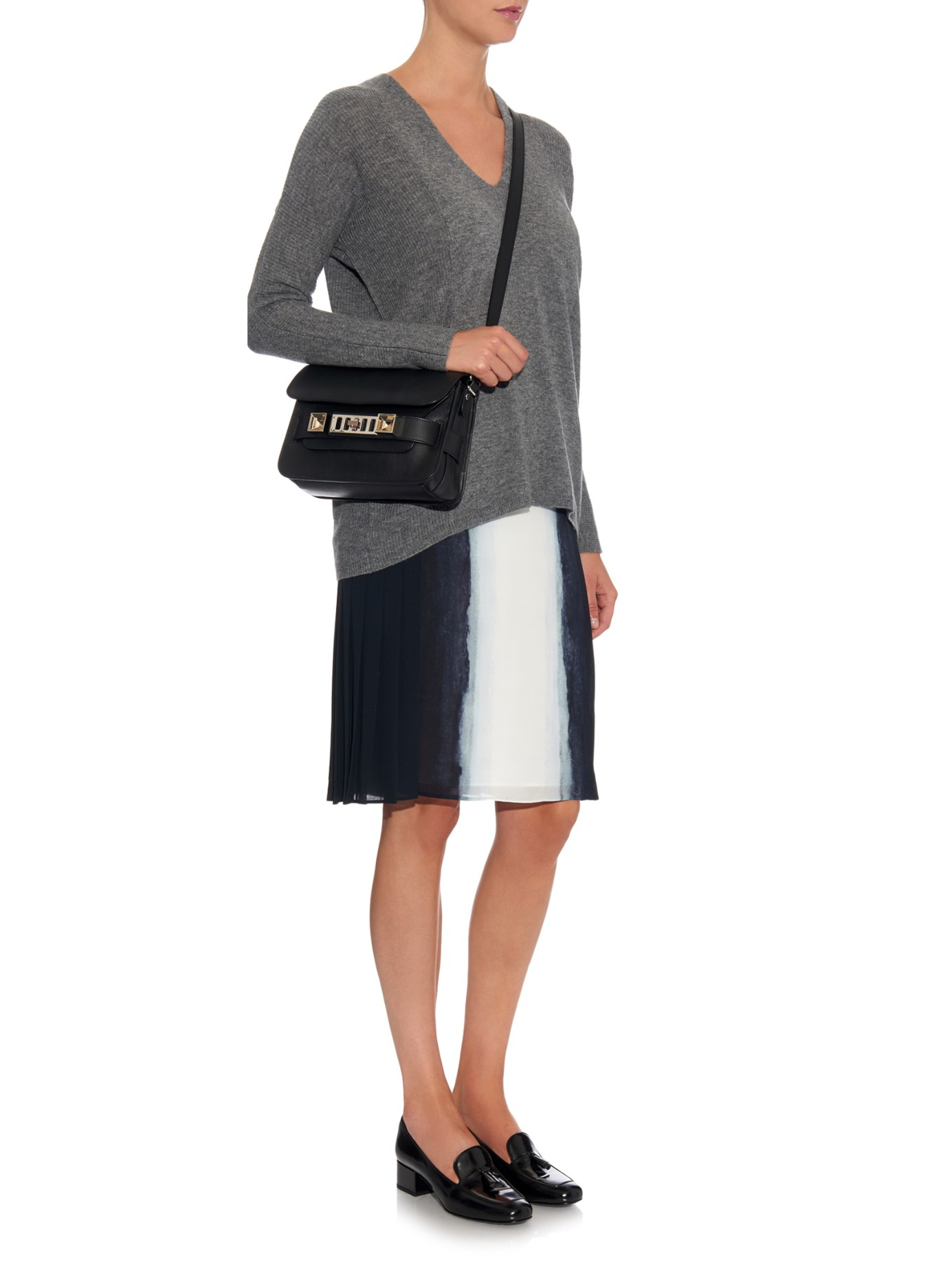 Vince V-neck Ribbed-knit Cashmere Sweater in Gray   Lyst