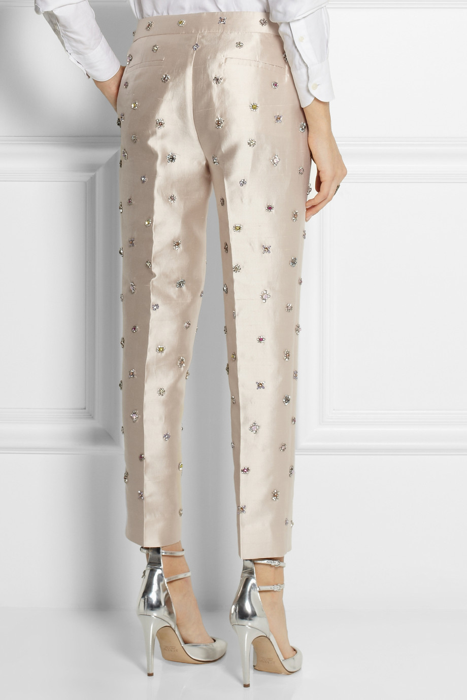 j crew collection embellished shantung straight