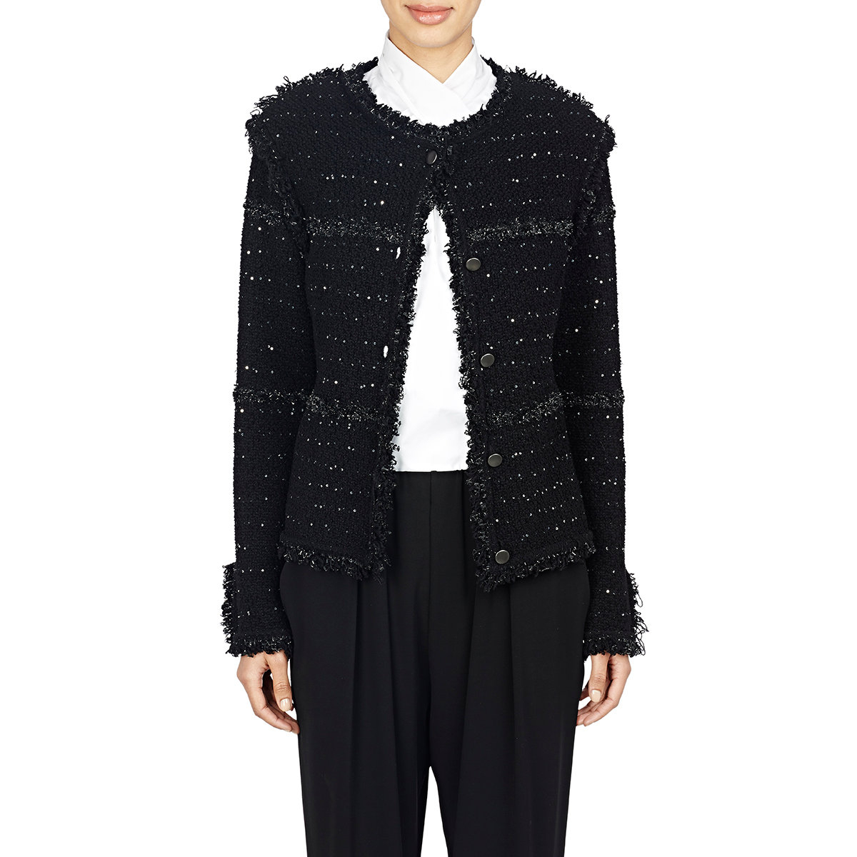 Lanvin Bouclé Tweed Sweater Jacket in Black | Lyst