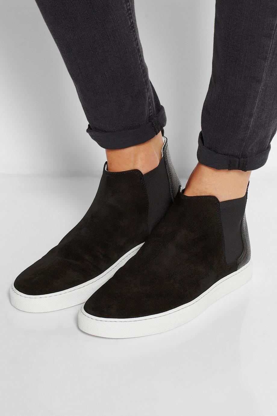 Lanvin Suede High-Top Slip-On Sneakers