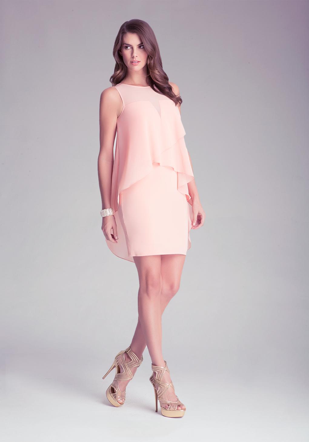 Lyst bebe asymmetric overlay dress in pink for Bebe dresses wedding guest