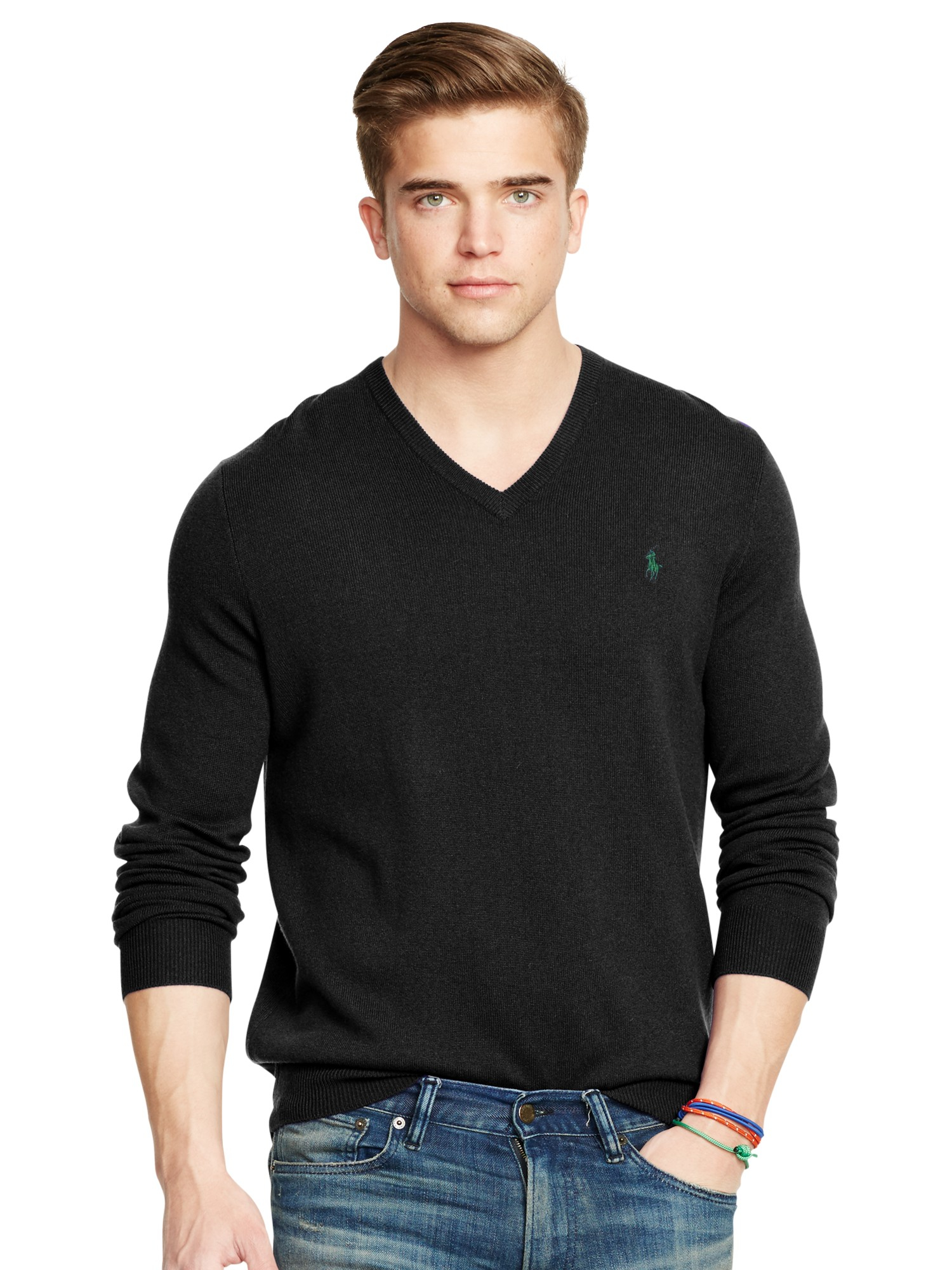 48be9d290ec Polo Ralph Lauren Black Wool V-neck Sweater for men