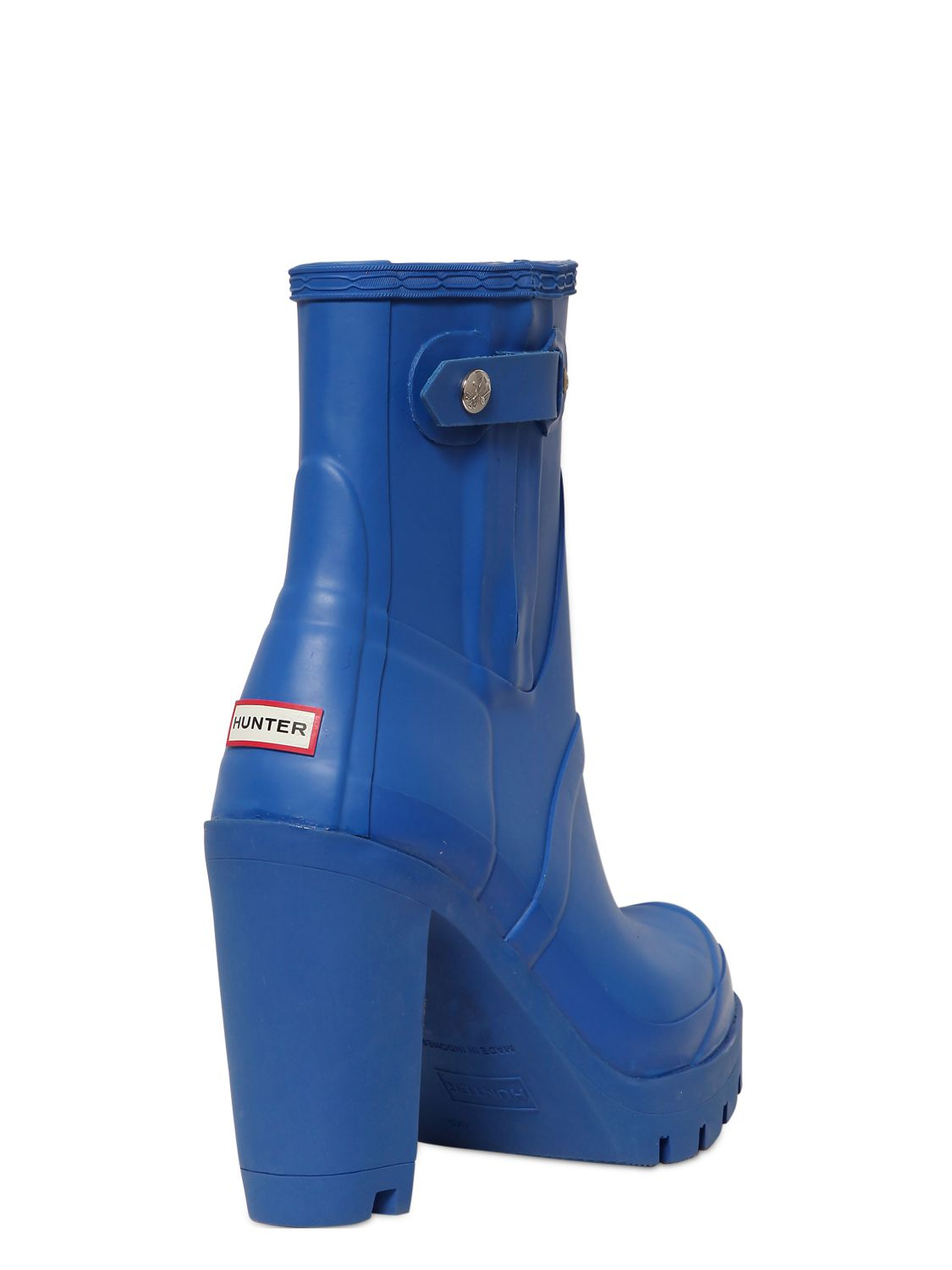Hunter 110mm High Heel Rubber Ankle Boots In Blue Lyst