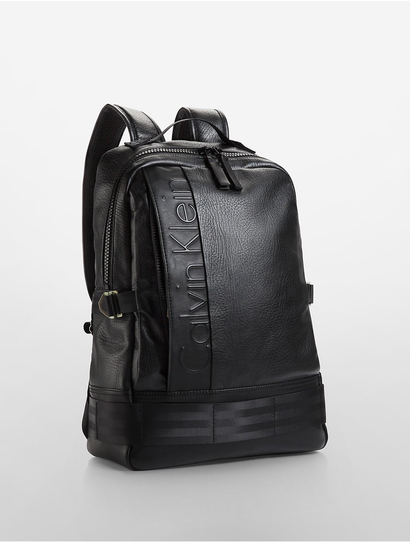 lyst calvin klein jeans pilot leather backpack in black. Black Bedroom Furniture Sets. Home Design Ideas
