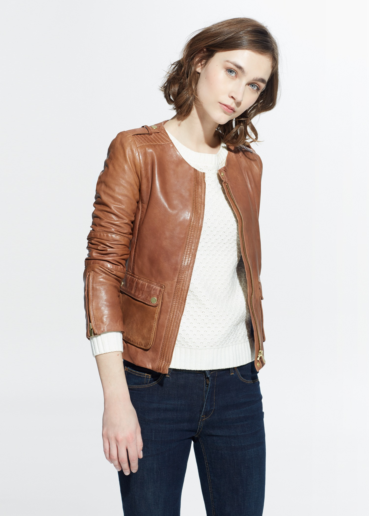 Lyst - Mango Pocket Leather Jacket in Brown 185f889ff