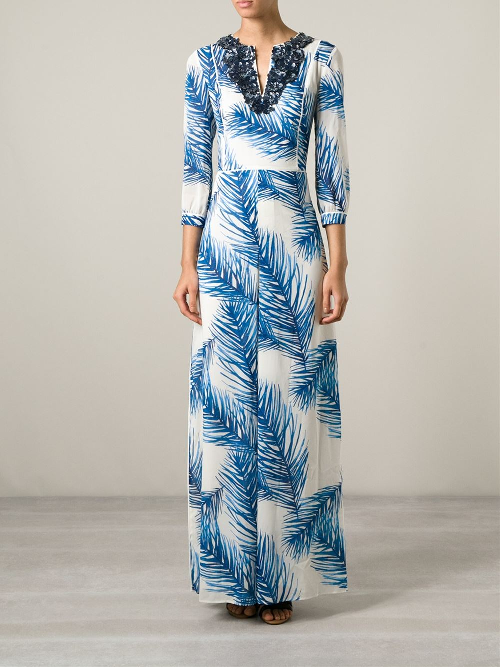 NWT $895 Tory Burch Baltic Sea Blue Sequined Feather Print Maxi ...