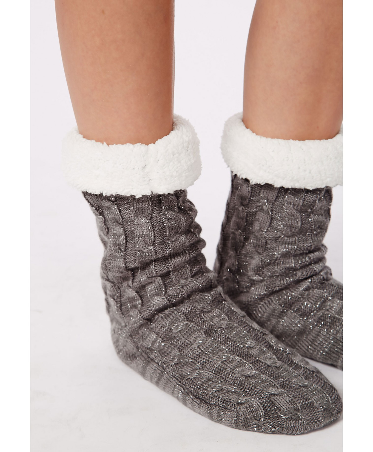 Lyst Missguided Chunky Cable Knit Slipper Socks Grey In Gray