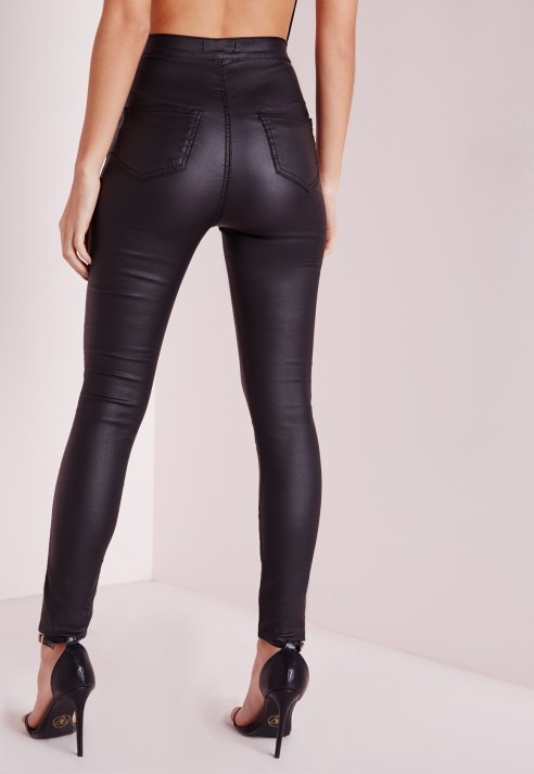 Missguided Petite Vice Wet Look Highwaisted Skinny Jeans Black