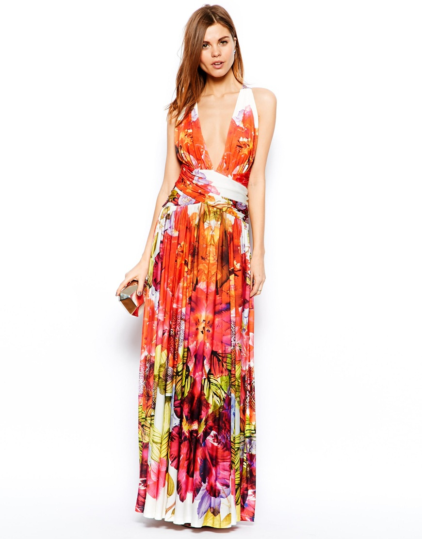 Forever Unique Plunge Neck Maxi Dress In Tropical Floral