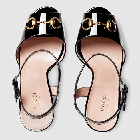 1663a8c4409 Lyst - Gucci Patent Leather Platform Sandal in Black