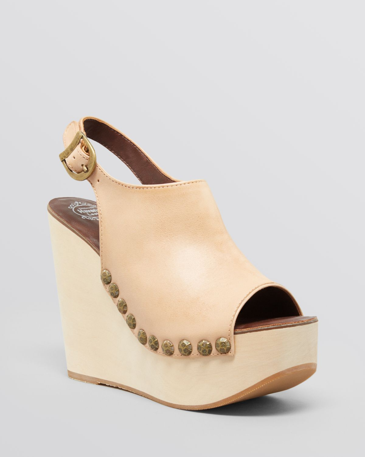 bb78477a3baa Lyst - Jeffrey Campbell Open Toe Platform Wedge Sandals Snick in Natural
