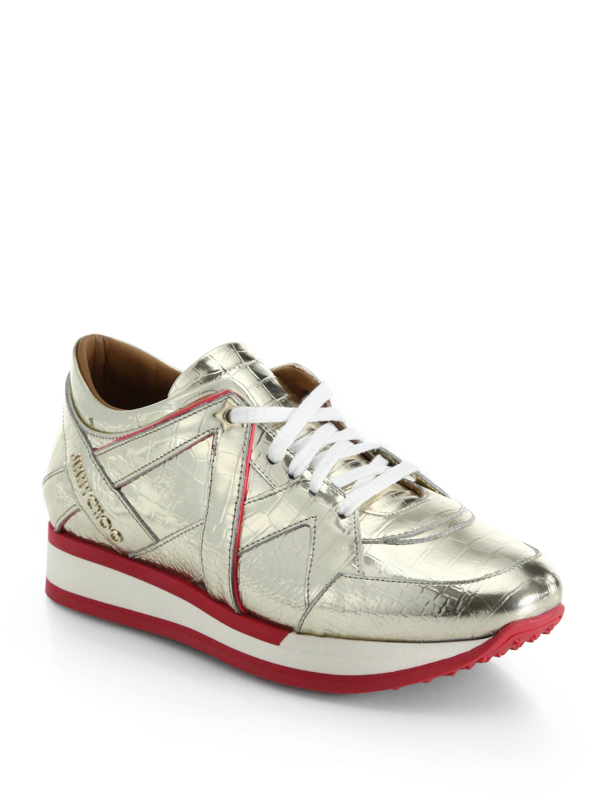 jimmy choo london sporty metallic leather sneakers in metallic lyst. Black Bedroom Furniture Sets. Home Design Ideas
