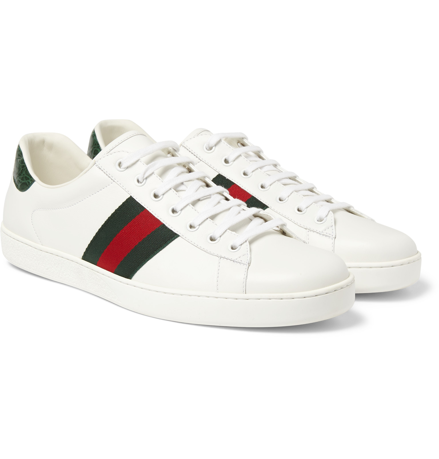 gucci ace crocodiletrimmed leather sneakers in white for