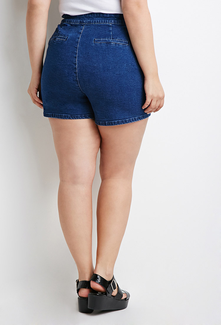 Dark Denim High-Waisted Shorts - Stretchy composure allows for a more comfortable fitting!
