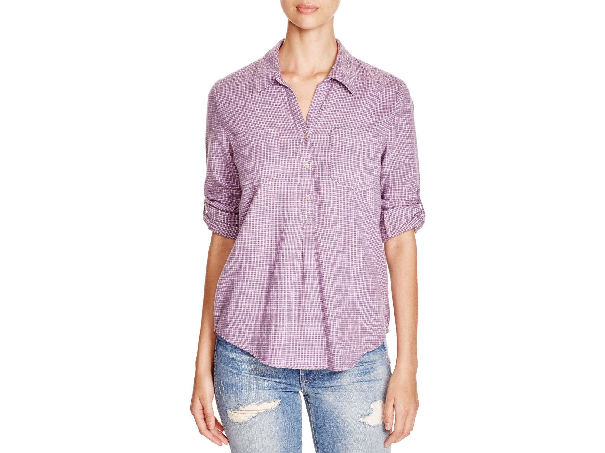 Soft joie drysi houndstooth cotton shirt in purple lyst for Soft cotton dress shirts