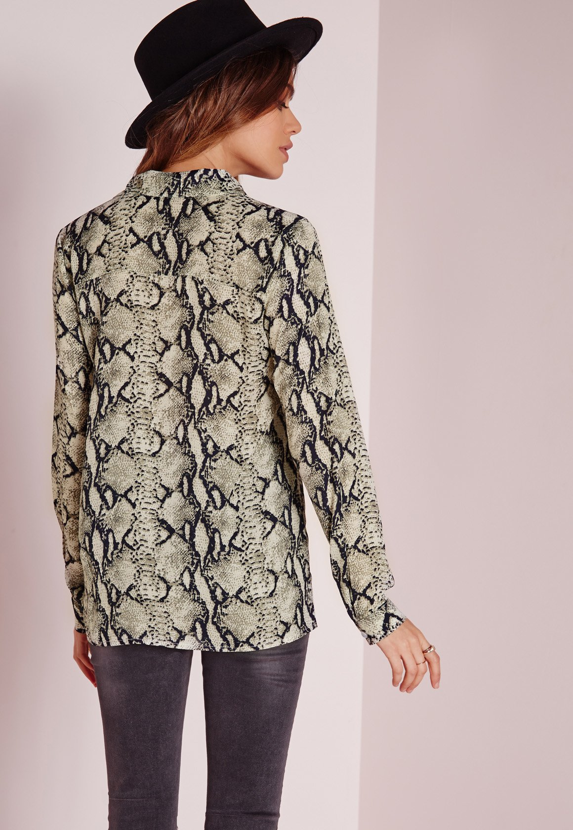 Lyst Missguided Snake Print Lace Up Blouse Multi