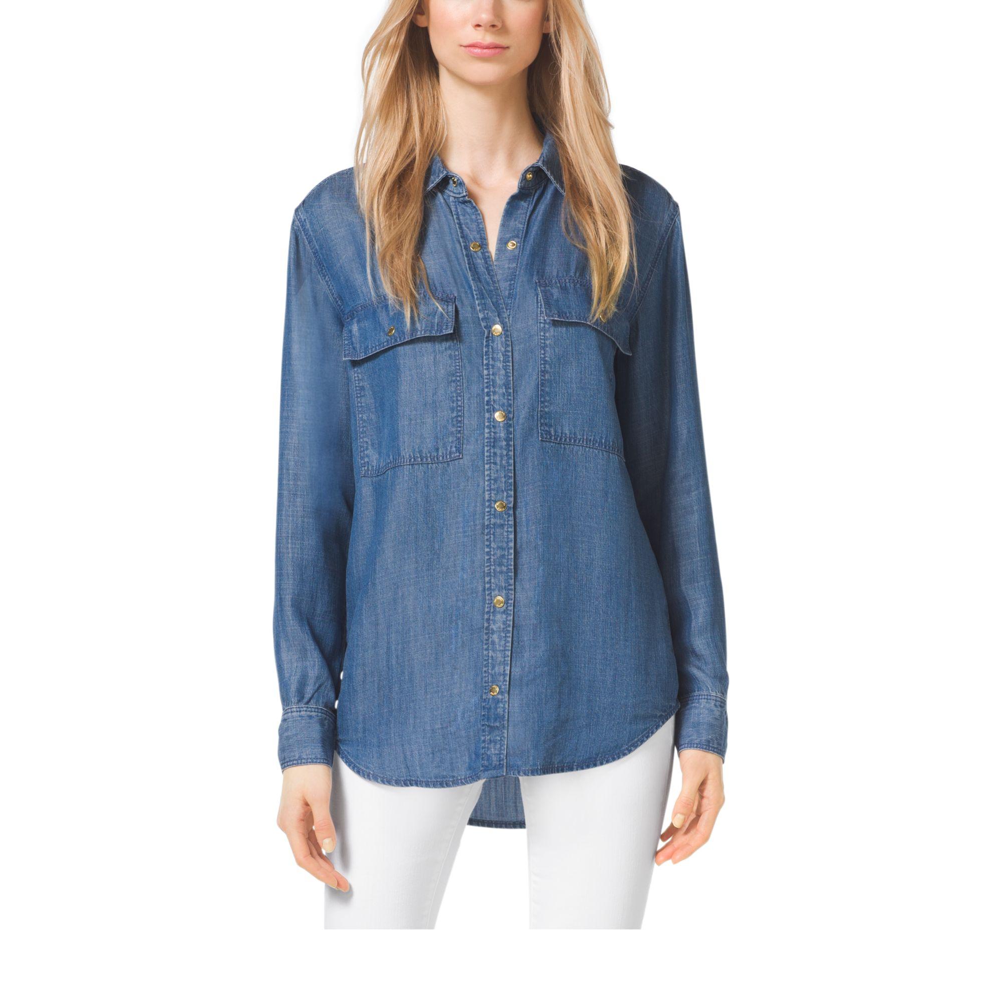 michael kors denim shirt in blue lyst. Black Bedroom Furniture Sets. Home Design Ideas