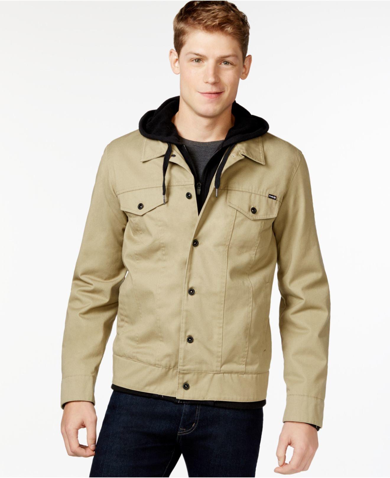 474270c4663 Lyst - Hurley Hooded Trucker Jacket in Natural for Men