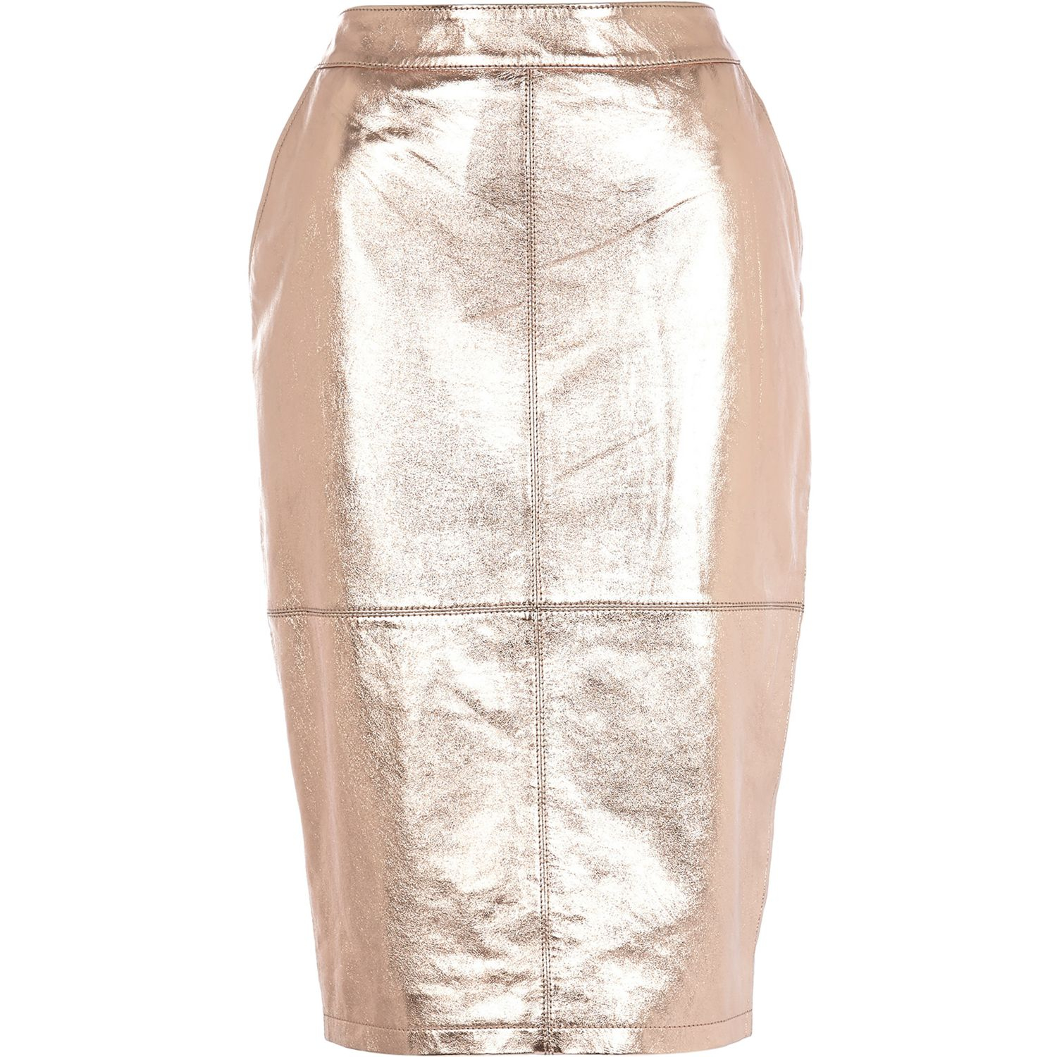 river island gold metallic high waisted leather skirt
