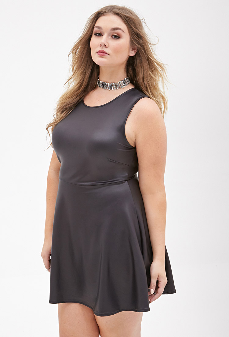 Lyst - Forever 21 Plus Size Faux Leather Skater Dress In Black