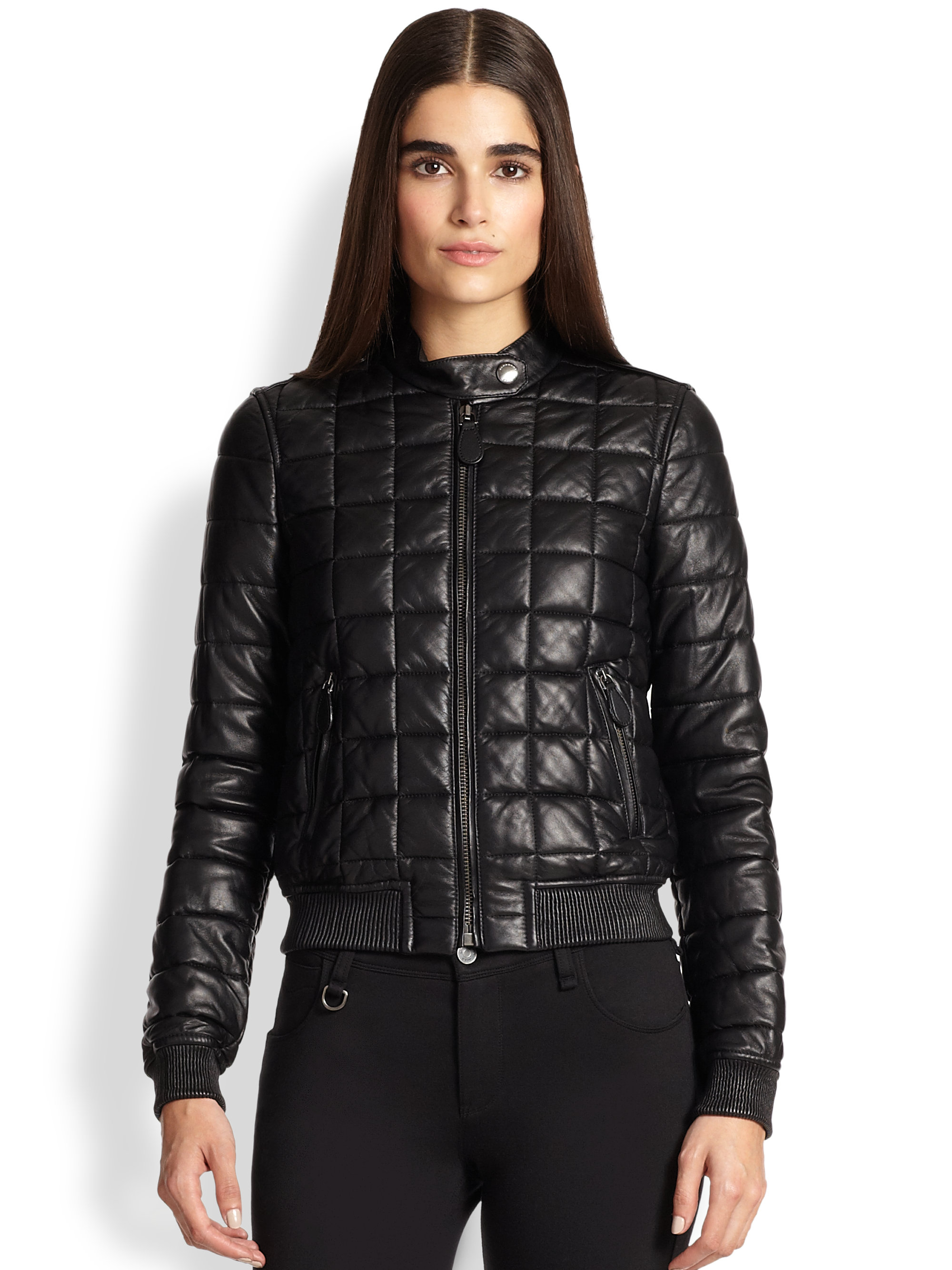 Burberry Brit Boblington Quilted Leather Bomber In Black
