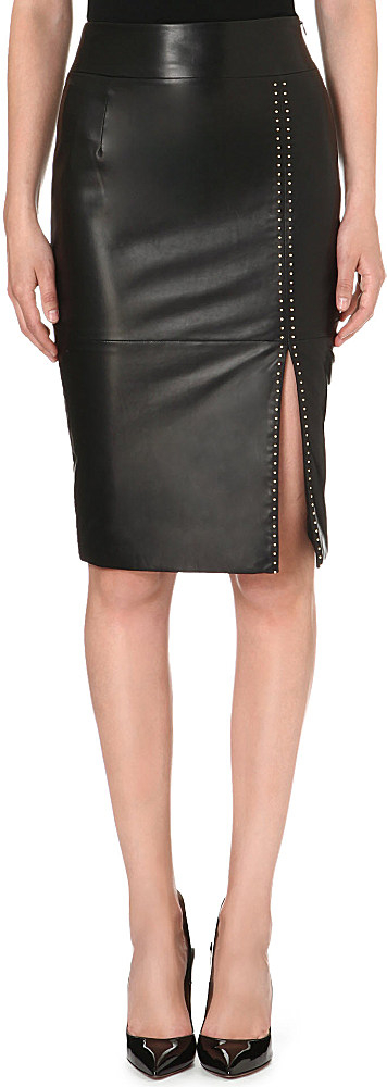 mcqueen mcq studded leather pencil skirt black
