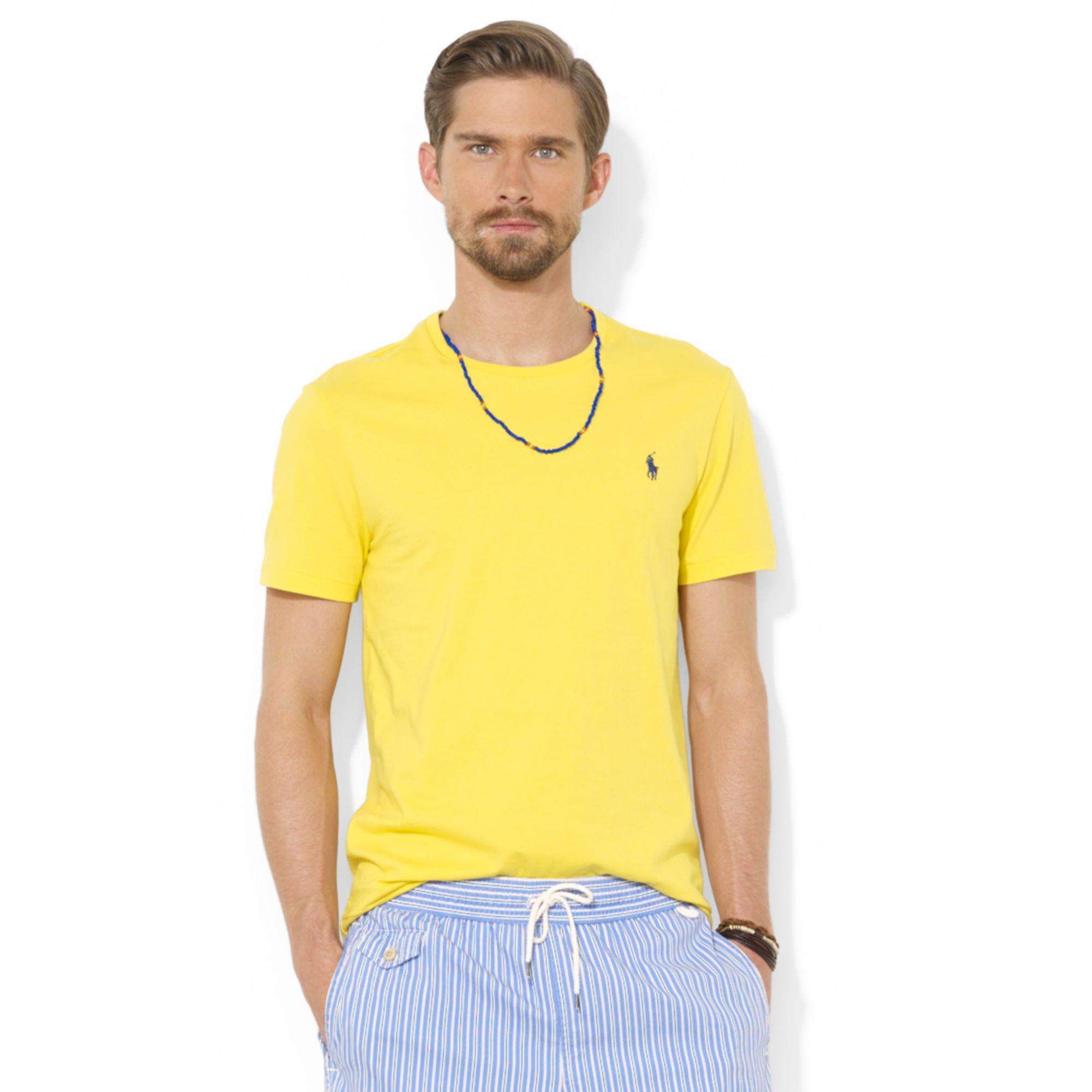 Lyst ralph lauren polo custom fit cotton jersey t shirt for Custom cotton t shirts