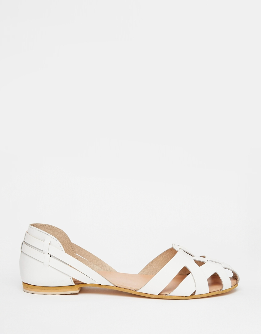 asos juggler wide fit leather summer shoes in white lyst