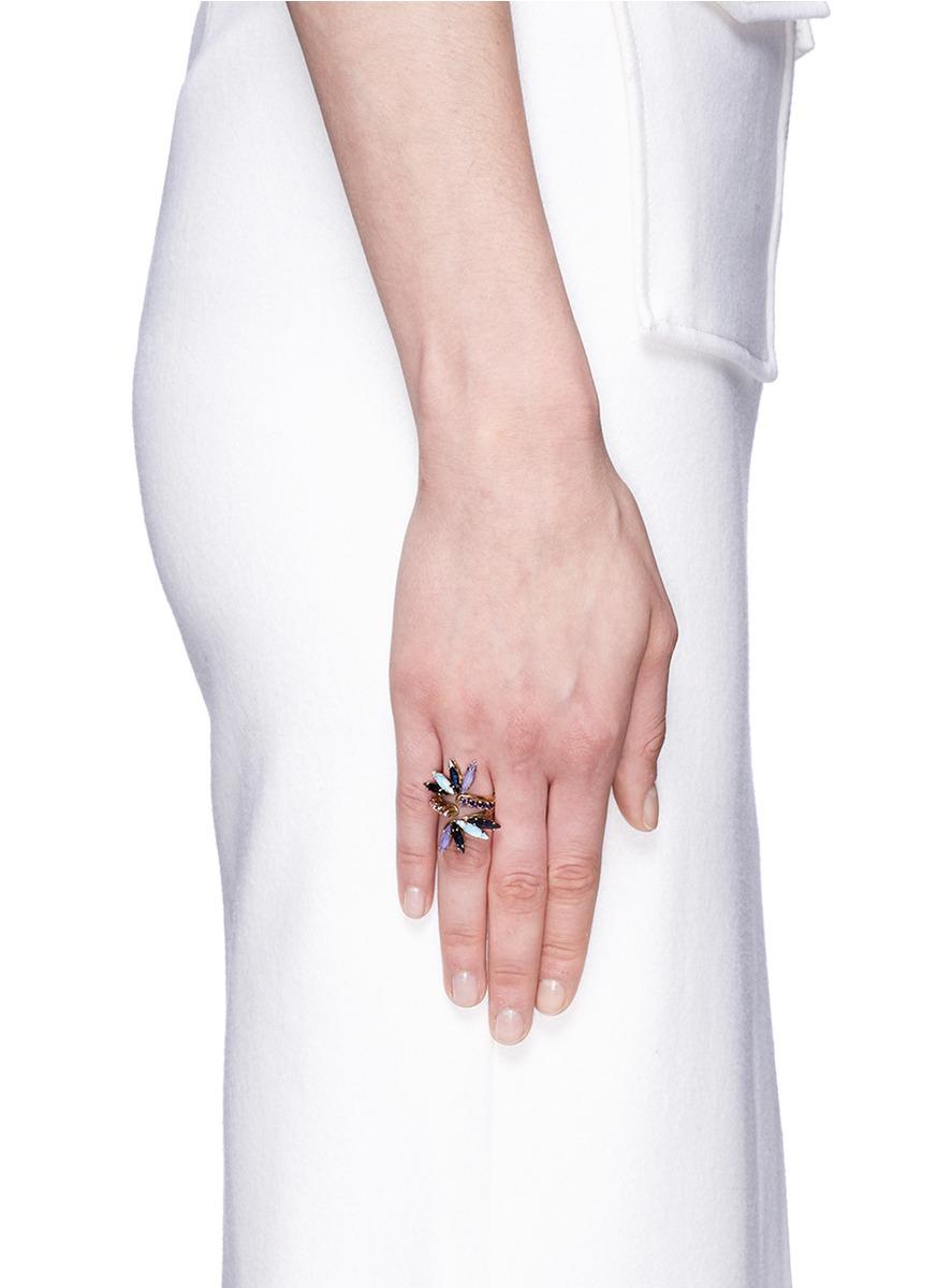 Erickson Beamon \'lady Of The Lake\' Swarovski Crystal Swirl Ring - Lyst