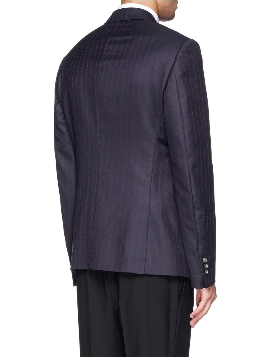 Alexander McQueen Logo Pinstripe Wool-cashmere Blazer in Blue for Men