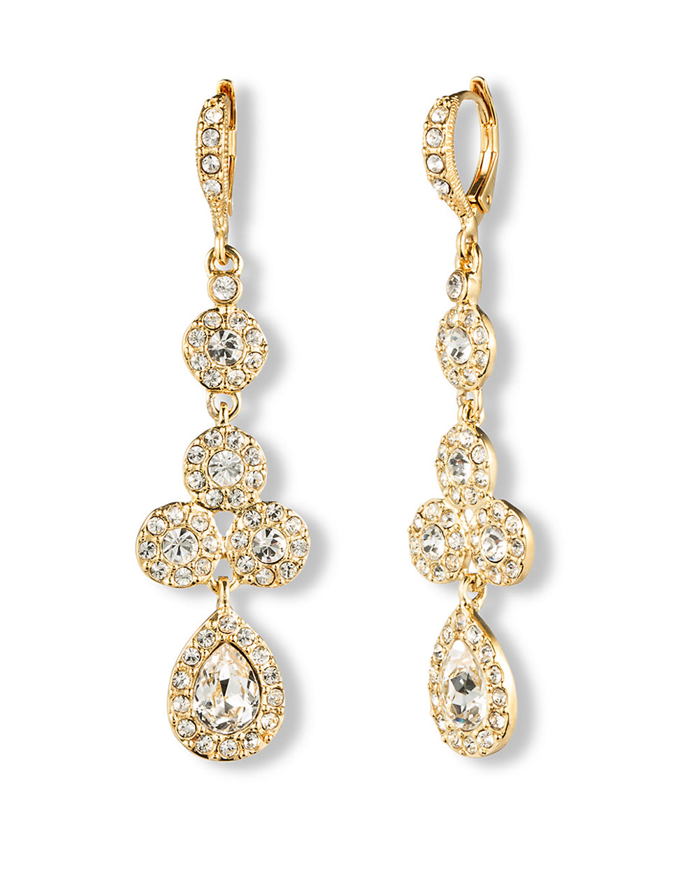 givenchy 10kt gold and linear pear drop earrings