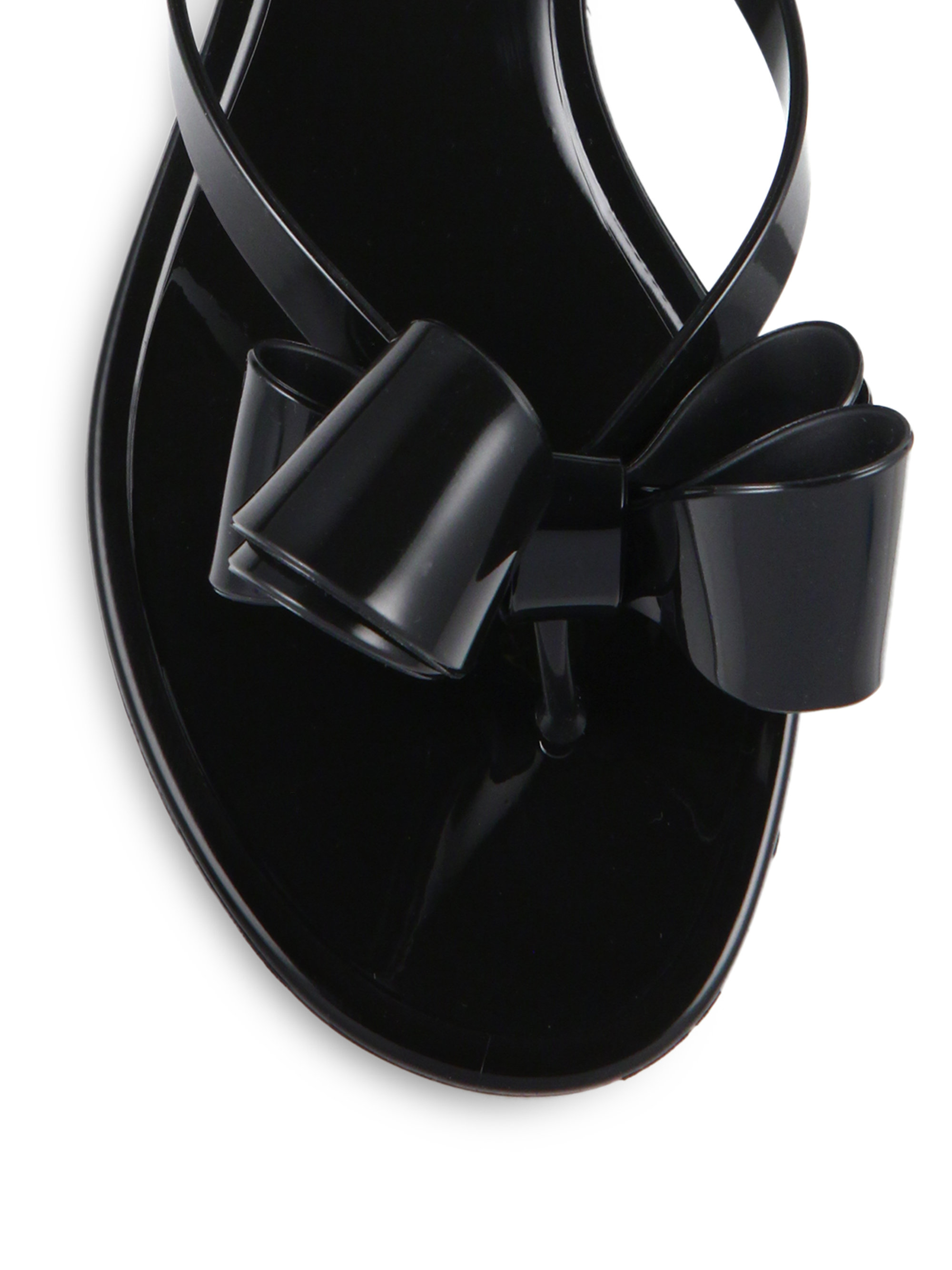 Valentino Rubber Couture Bow Jelly Flip Flops In Black - Lyst-8191