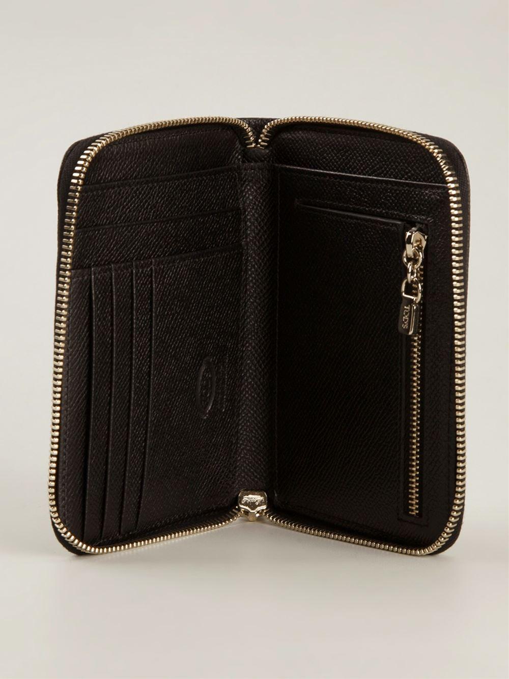 Tod S Zip Around Wallet In Black Lyst